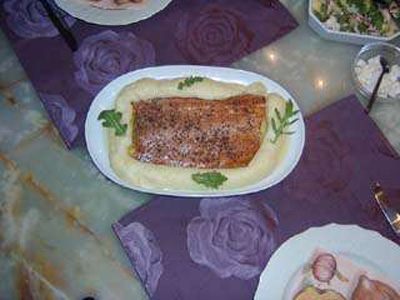 Lemon pepper smoked salmon or sea trout with mashed potatoes