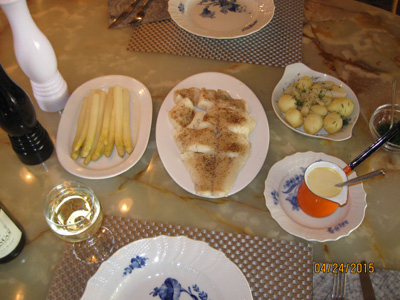 Steamed halibut with white asparagus