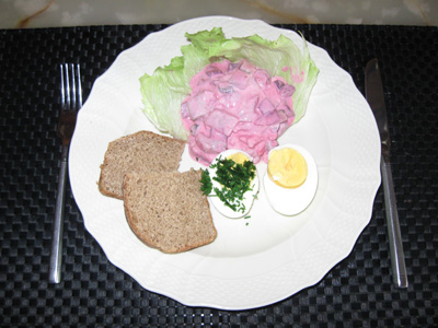 Herring salad of my own spiced marinerde herrings