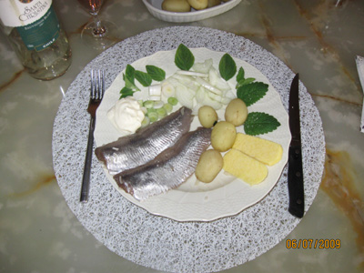 Marinated herring fillets with new Danish potatoes