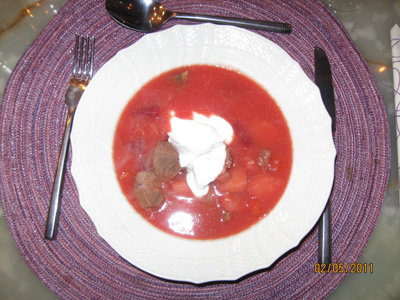 Borscht soup cooked on Osso Buco with Danish roots