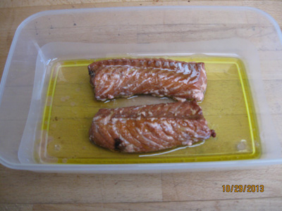 The fish is smoked and Ready Sea salmon