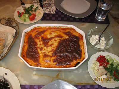 Moussaka with cod or lamb
